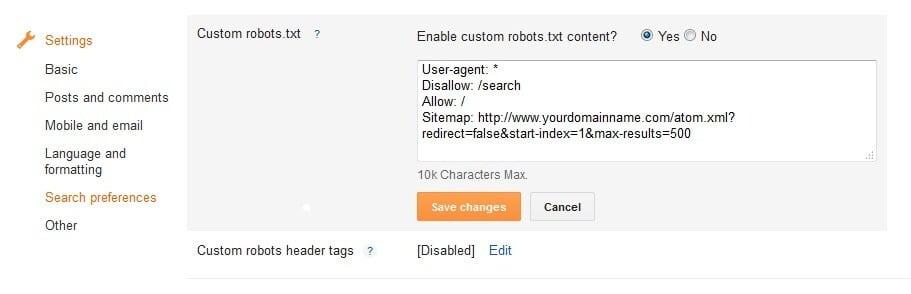 custom robot.txt file