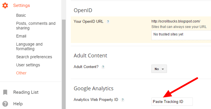 tracking id in analytics