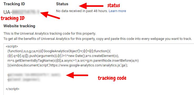 google analytics tracking code and tracking id