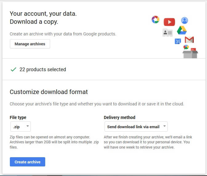 select file type in google
