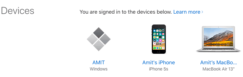 manage apple id- devices