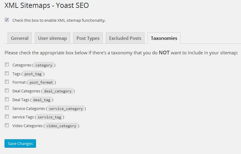 seo by yoast xml sitemap setting