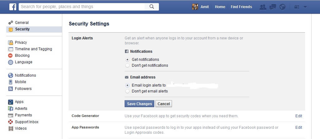 notification for facebook