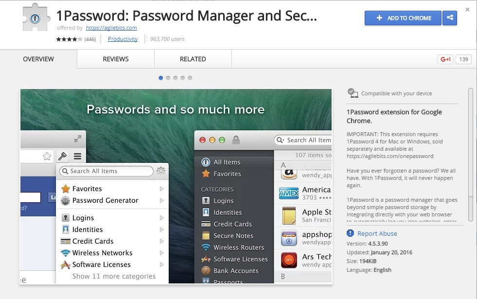1password chrome extensions