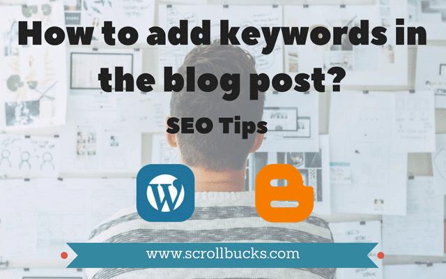Add keywords in blog post