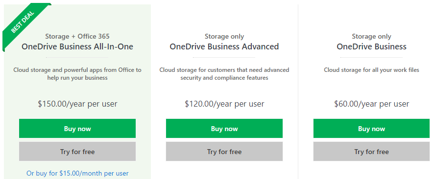 onedrive business plans