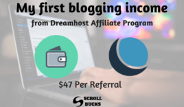 My first blogging income from Dreamhost affiliate program