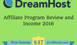 Dreamhost Affiliate program review and my income