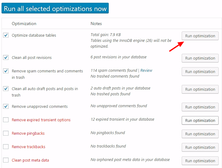 clean wordpress database using wp optimize
