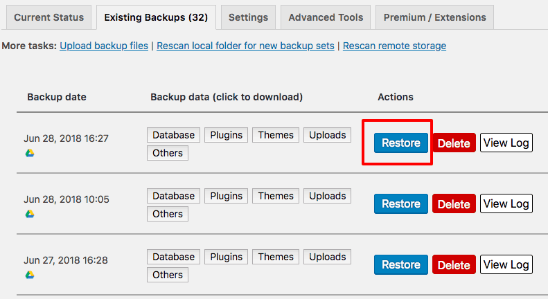 restore wordpress backup