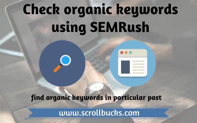 check organic keywords using SEMRush