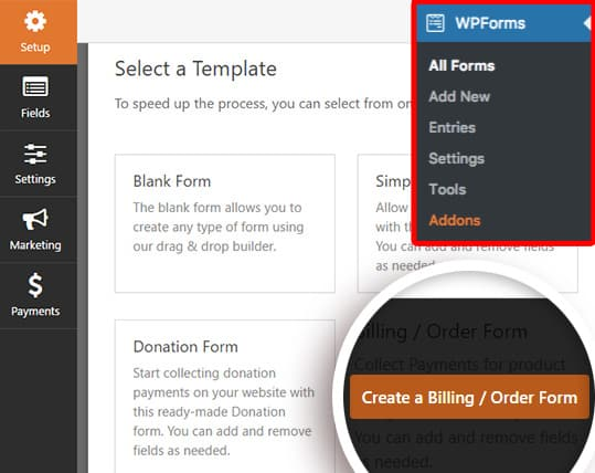 order/billing form